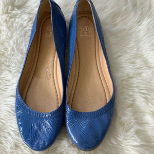 Frye Blue Patent Leather Carson Ballet Flats